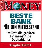 als beste bank f r den mittelstand von focus money in 2014. Black Bedroom Furniture Sets. Home Design Ideas
